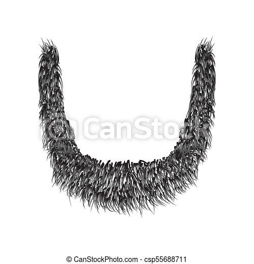 Barba Realista aislada en ilustración de vectores blancos de fondo. - csp55688711