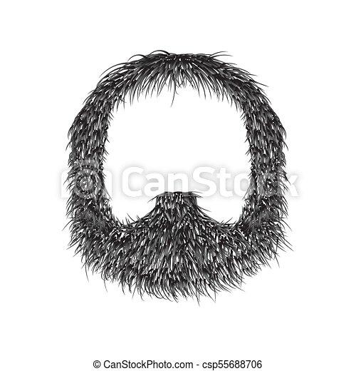 Barba Realista aislada en ilustración de vectores blancos de fondo. - csp55688706