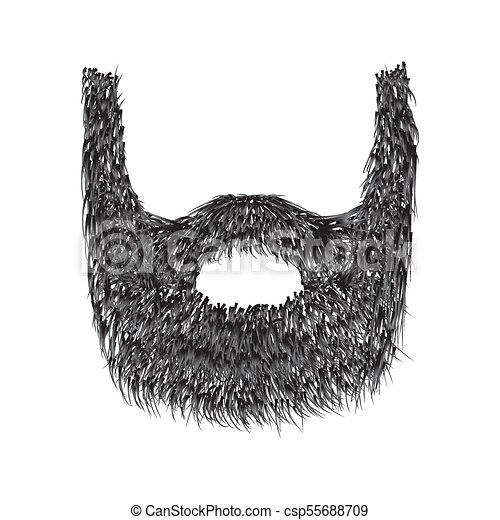 Barba Realista aislada en ilustración de vectores blancos de fondo. - csp55688709