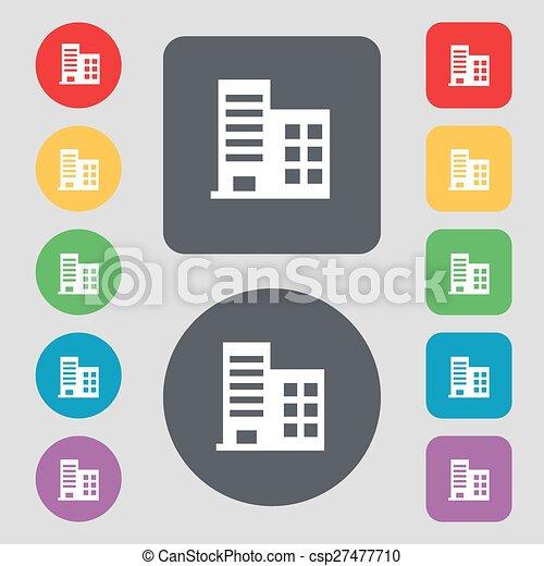 Vector, plano, edificios, conjunto, coloreado, icono, apartamentos ...
