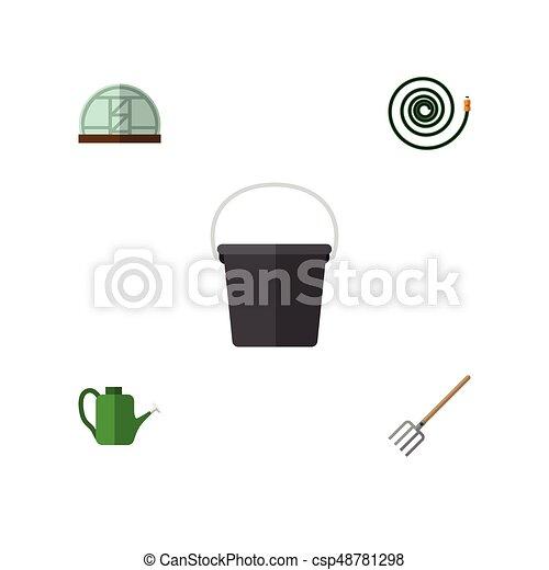 Un juego de icono plano de cubo, manguera, protector y otros objetos vectoriales. También incluye a Baileyr, herramientas, elementos de balde. - csp48781298