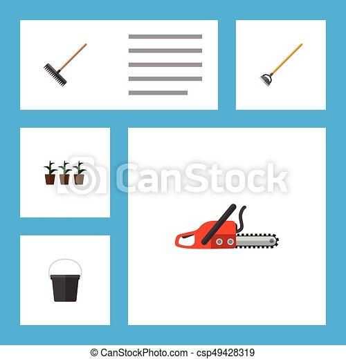 Jardín de iconos planos, sierra, maceta y otros objetos vectoriales. También incluye herramientas, sierras, elementos de maceta. - csp49428319
