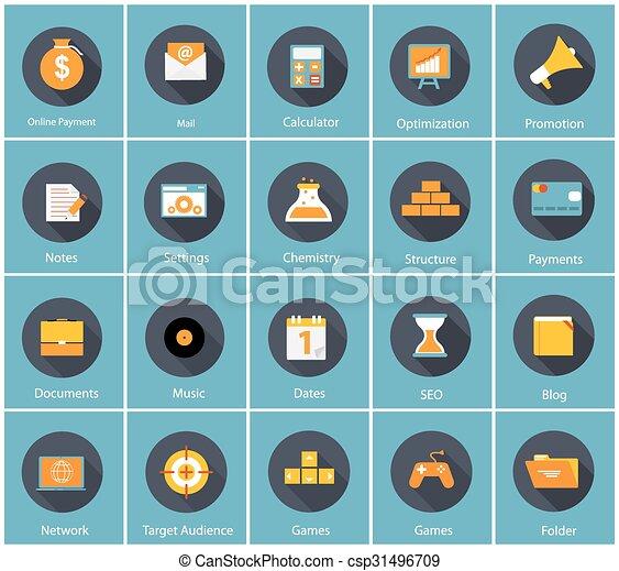 Gran colección de vectores de negocios planos y iconos financieros con Lo - csp31496709