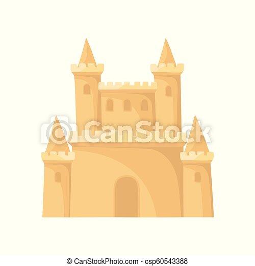 Icono vector plano del castillo de arena real. Fortaleza con torres. Vacaciones en la playa. Elemento para libros infantiles o juegos móviles - csp60543388