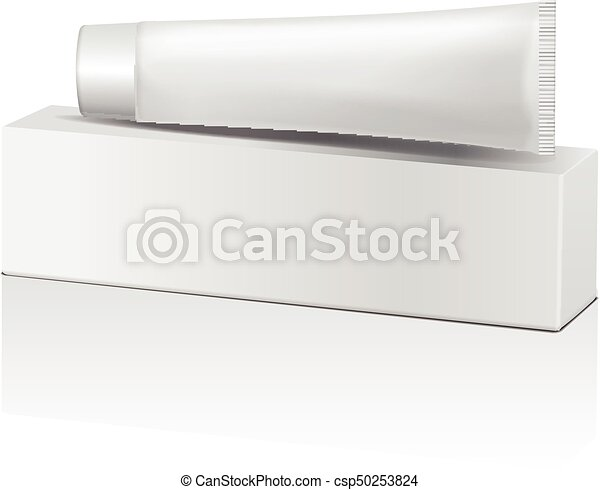 Vector Plastic Tube And White Box For Medicine Or Cosmetics Toothpaste Cream Gel Skin Care Packaging Mockup Template