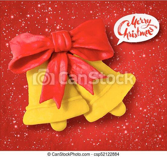 Vector plasticine figure of Christmas bells - csp52122884