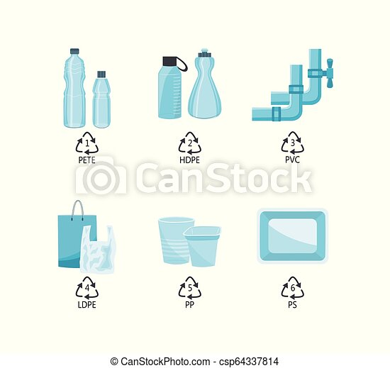 Vector plastics type containers package bottle set