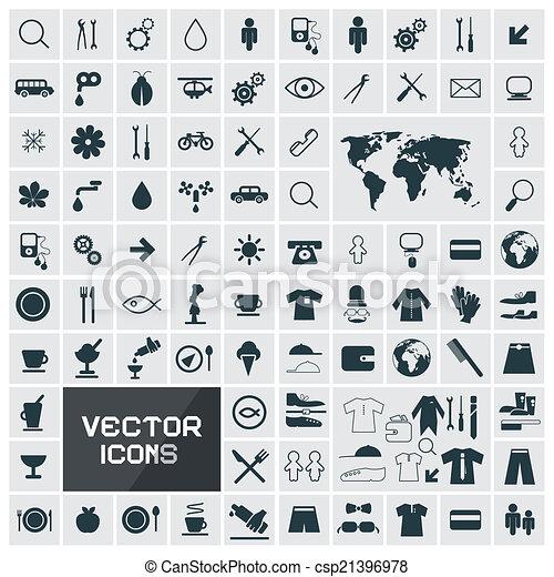 vector, plat, vast plein, iconen - csp21396978