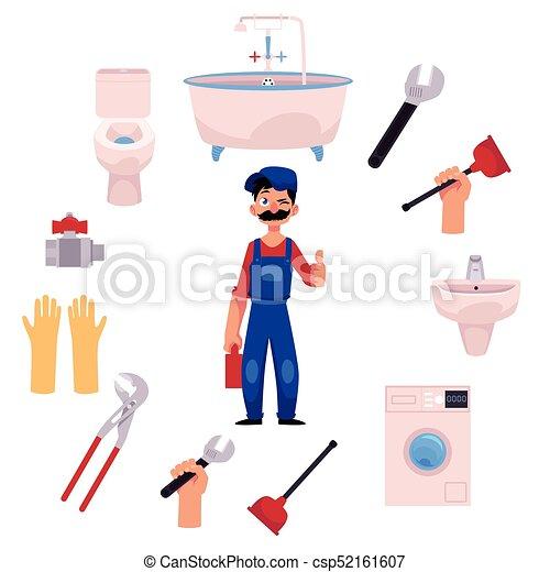vector plumber man thumbs up plumbing tools - csp52161607