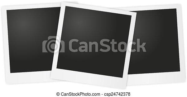 Vector polaroid photo on gray backg - csp24742378