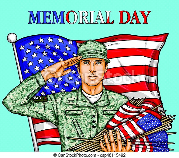 Vector pop art illustration for a memorial day - a male soldier against an American flag - csp48115492