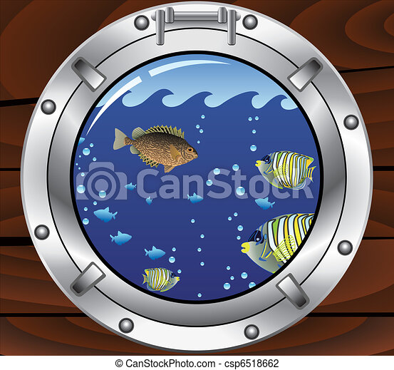 vector porthole and colorful tropical fishes - csp6518662
