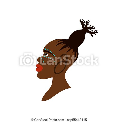 Vector Portrait Of African Woman With Traditional Hairstyle In