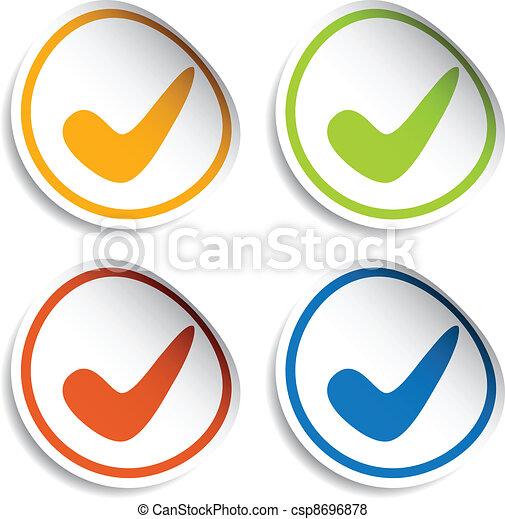 vector positive checkmark stickers - csp8696878