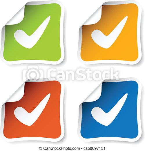 vector positive checkmark stickers - csp8697151
