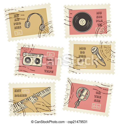 Vector postage stamps collection, retro music equipment theme, canceled - decorative set for scrapbooking - csp21479531