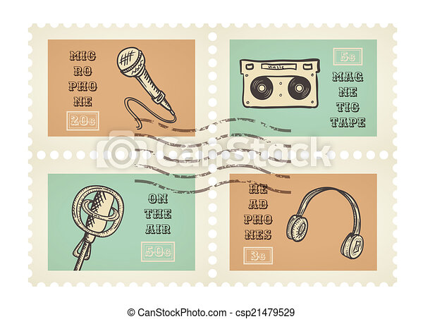 Vector postage stamps of retro music equipment theme, canceled, decorative set for scrapbooking - 4 separated elements - csp21479529