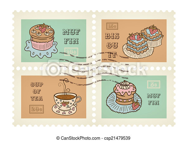 Vector postage stamps retro pastry theme, canceled, decorative set for scrapbooking - csp21479539