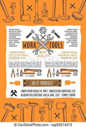 Vector poster do it yourself home repair work tool work tools vector poster do it yourself home repair work tool solutioingenieria Image collections