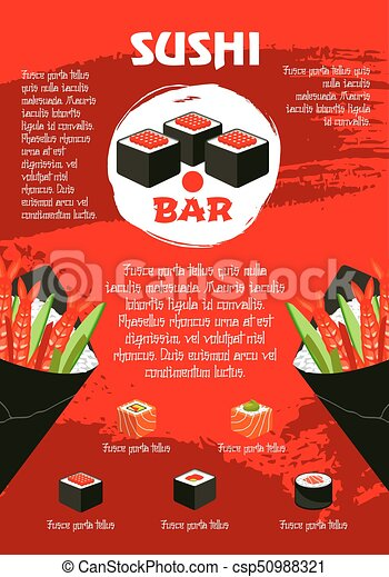 vector poster for japanese sushi restaurant sushi bar red poster