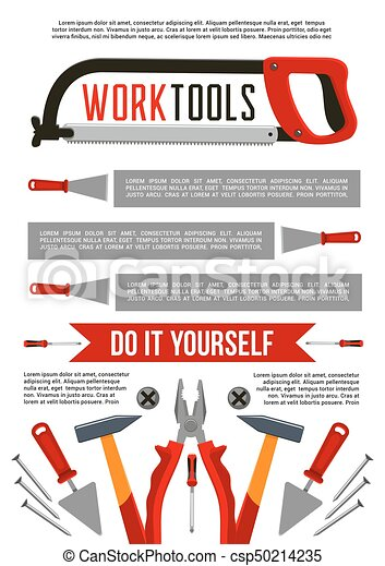 Vector poster of work tools or construction repair work vectors vector poster of work tools or construction repair solutioingenieria Choice Image