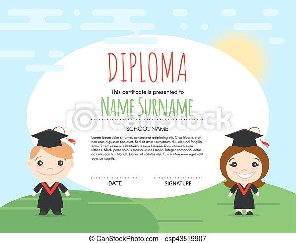 vector preschool elementary kids diploma certificate background