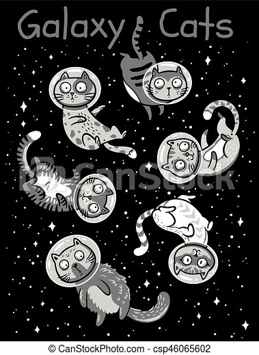 Vector Print With Cats In Space Set Of Cats Astronauts In Space