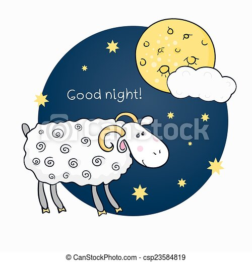 Vector print with images cute sheep on background night sky with moon and wish good night in cartoon style and wish good night - csp23584819