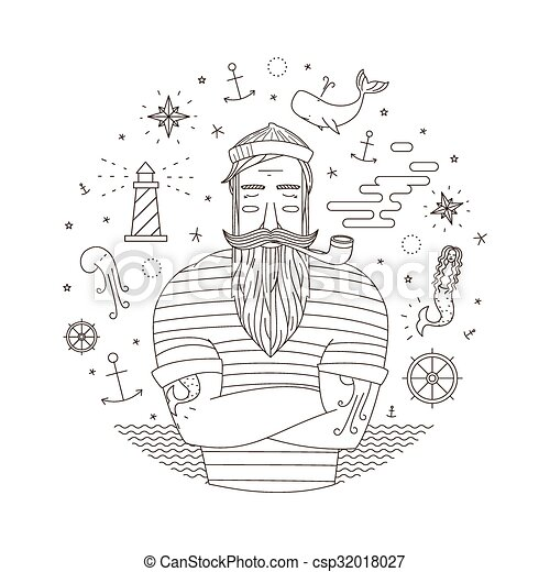 Vector print with sailor. Black and white illustration of ...