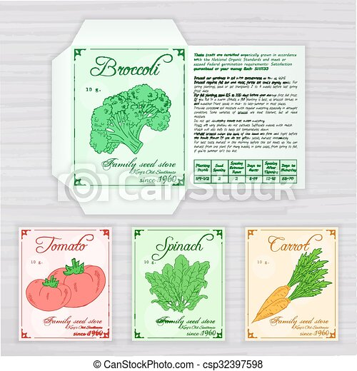 Vector Printable Template Of Seed Packet With Image Name And Description Vegetables On Wooden Backdrop Contains Broccoli Tomato Spinach Carrot