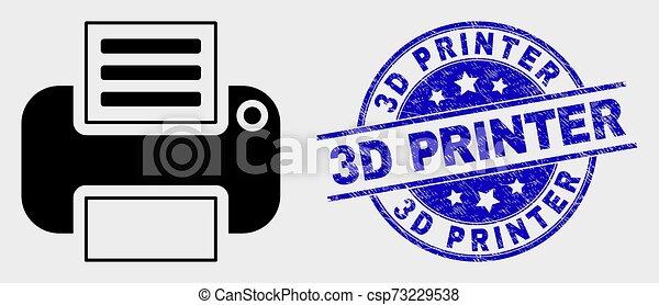Vector Printer Icon and Distress 3D Printer Stamp - csp73229538