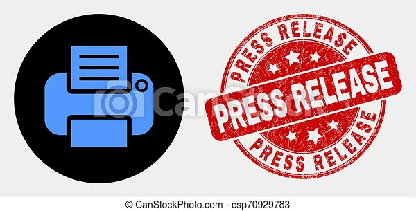 Vector Printer Icon and Distress Press Release Stamp Seal - csp70929783