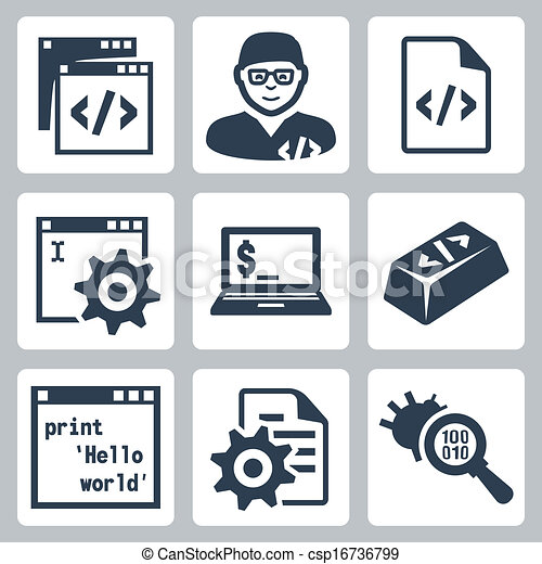 Vector programming and software development icons set - csp16736799