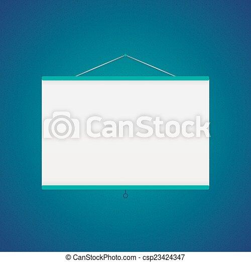 Vector projector screen over blue - csp23424347