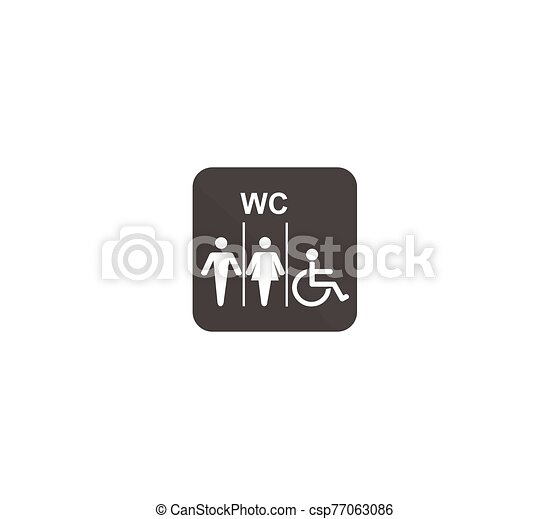 Vector public toilet icon for men, women and disabled. - csp77063086