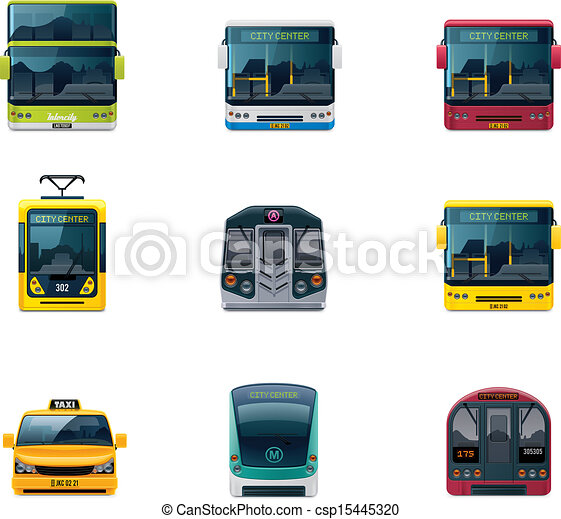 Vector public transport icons - csp15445320