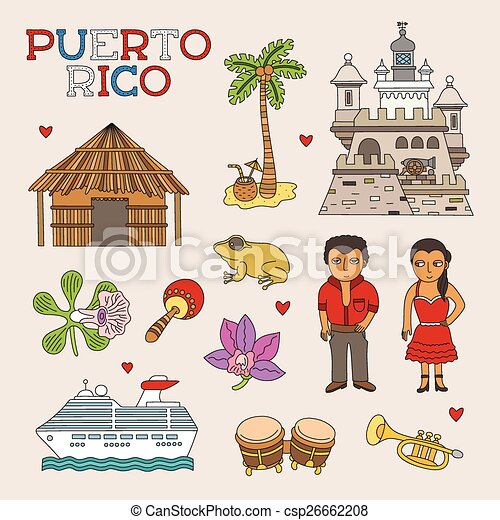 vector puerto rico doodle art for travel and tourism rh canstockphoto com puerto rico clipart svg puerto rico flag clip art