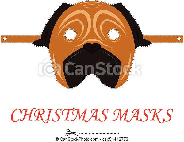 Vector pug Christmas mask for party and carnival. 2018 year of dog. Isolated on white background. - csp51442773