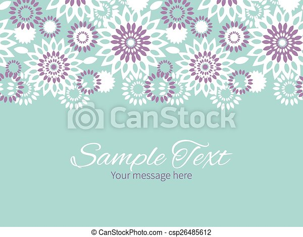 Vector Purple And Blue Floral Abstract Horizontal Border Greeting