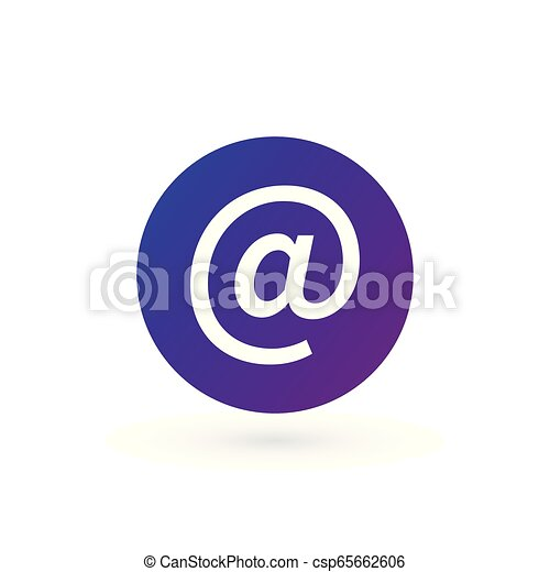 Vector purple e-mail internet icon button. Vector illustration isolated on white background. - csp65662606