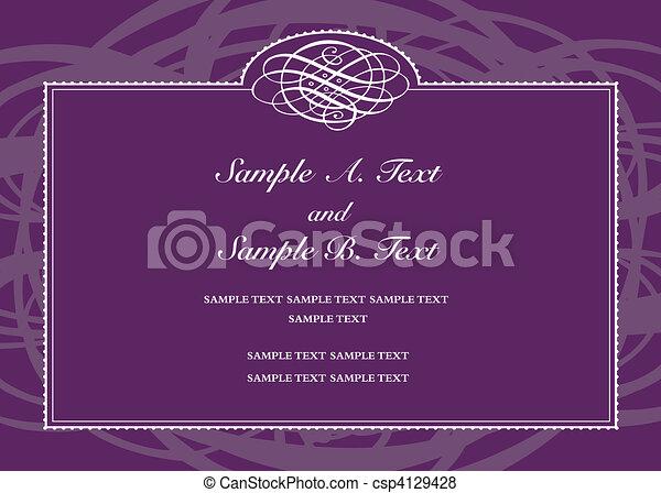 Vector purple formal frame vector swirl frame with sample text vector purple formal frame stopboris Images