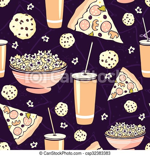 Vector Purple Pink Pajama Party Movie Night  Food Seamless Pattern. Pizza Drink Cookie Popcorn Snack. - csp32383383
