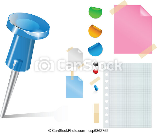 Vector push pin and stickers - csp6362758