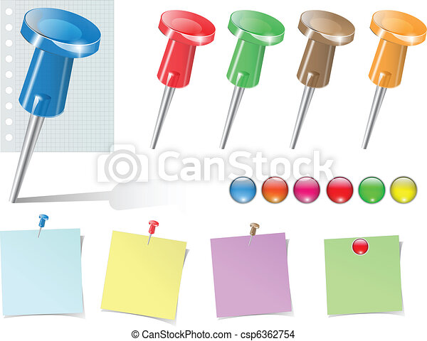 Vector push pins and stickers set. - csp6362754