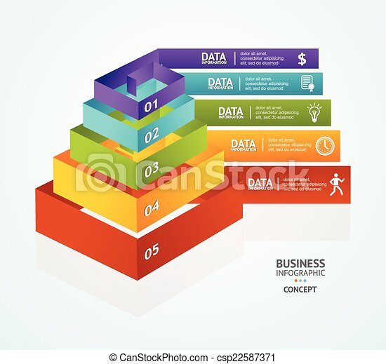 Vector Pyramid chart for infographics design - csp22587371
