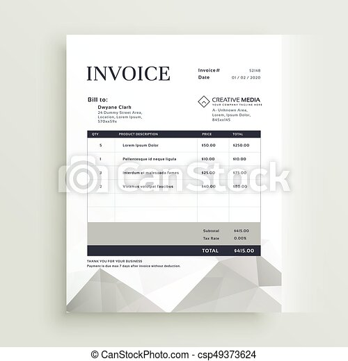Vector Quotation Invoice Template Design - Creative invoice template