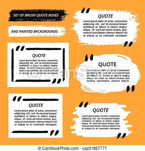 Vector Quote Boxes And Brush Strokes Set Painted Quotation Marks