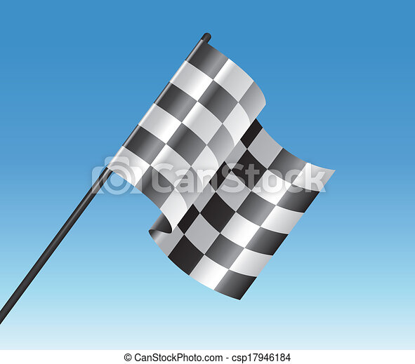vector racing checkered flag and blue sky - csp17946184