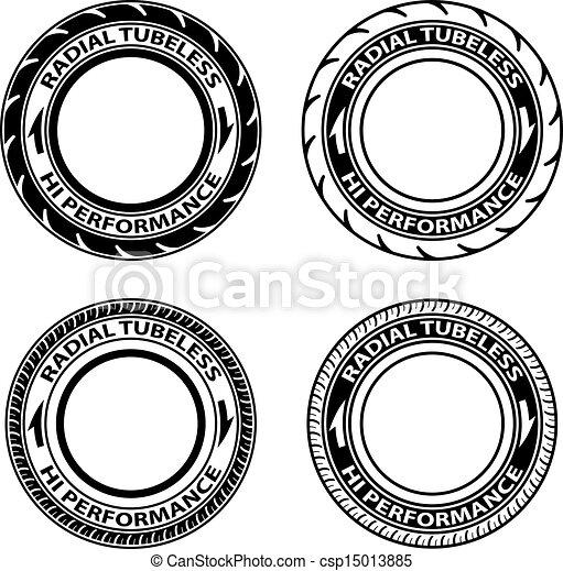 vector radial tubeless tyre symbols - csp15013885