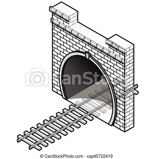 Vector railway low-poly tunnel, isometric 3d perspective. Old stone building. - csp45722419